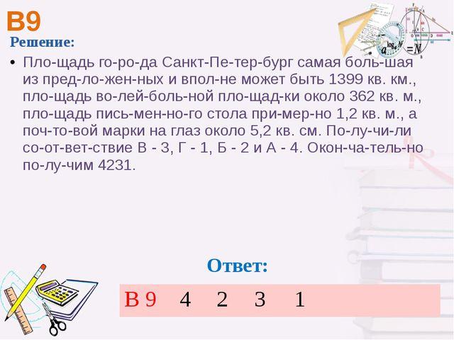 В9 Решение: Площадь города Санкт-Петербург самая большая из предложен...