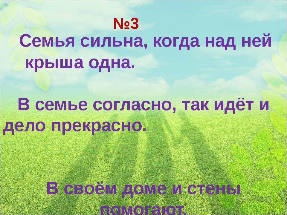 №3 Семья сильна, когда над ней крыша одна. В семье согласно, так идёт и дело...