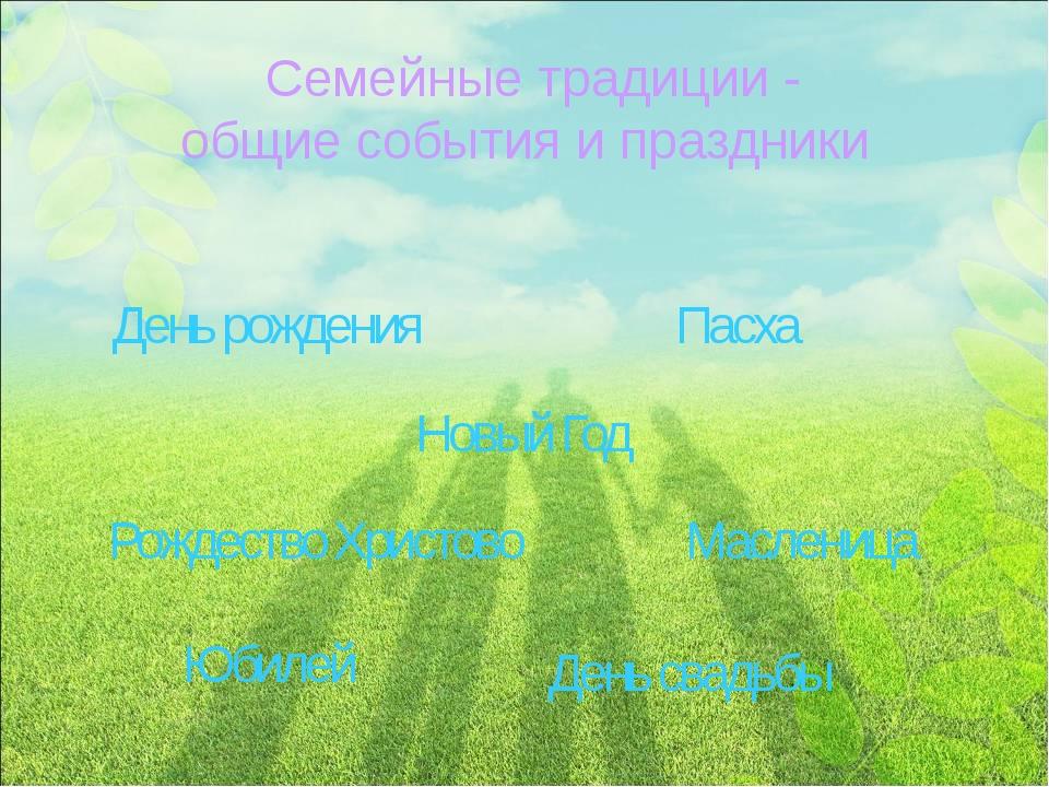 Семейные традиции - общие события и праздники День рождения Пасха Новый Год Р...