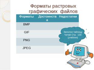 Форматы растровых графических файлов Заполни таблицу Читай Стр. 100 (учебник)
