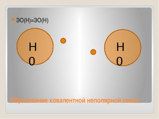Образование ковалентной неполярной связи ЭО(Н)=ЭО(Н) Н0 Н0