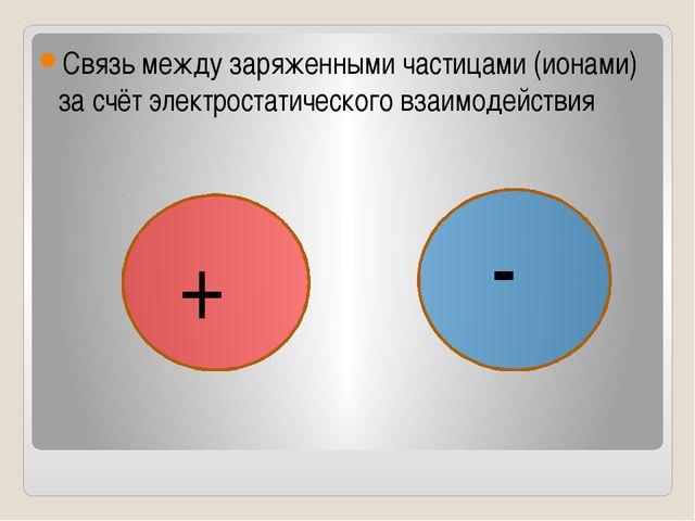 Связь между заряженными частицами (ионами) за счёт электростатического взаим...