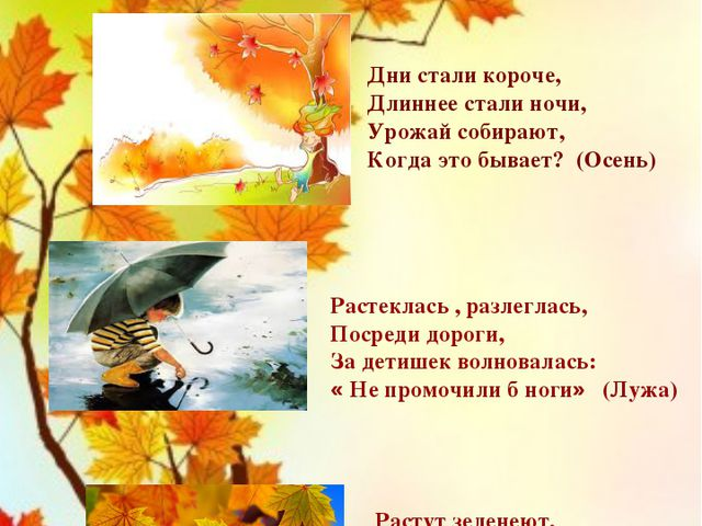 Поутру трава сырая, Стала вдруг совсем седая… (Иней) Дни стали короче, Длинн...