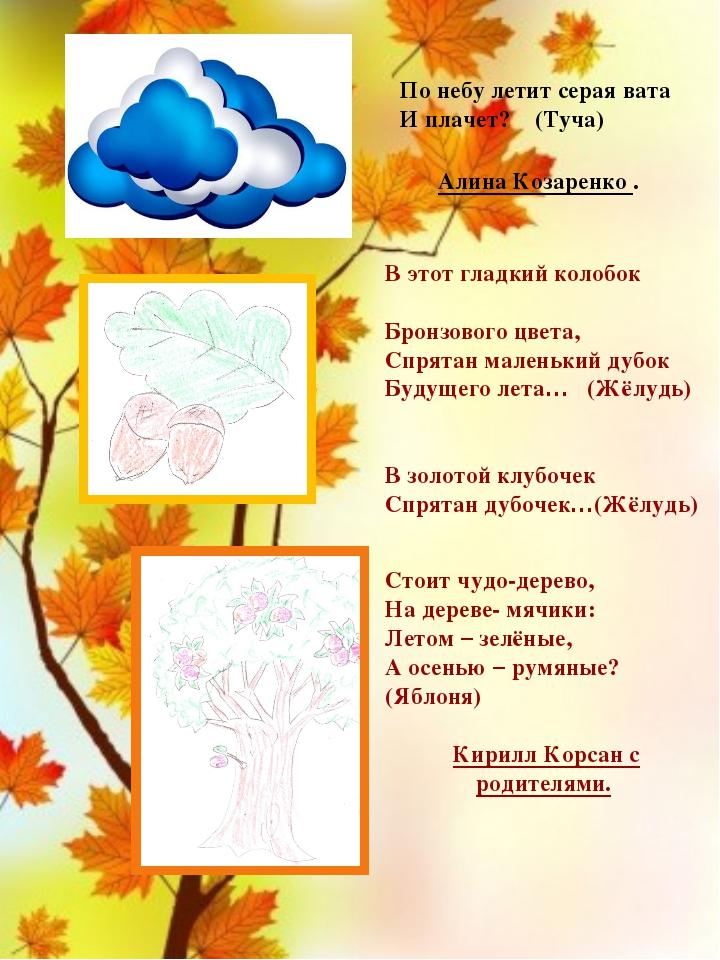 По небу летит серая вата И плачет? (Туча) Алина Козаренко . В этот гладкий к...
