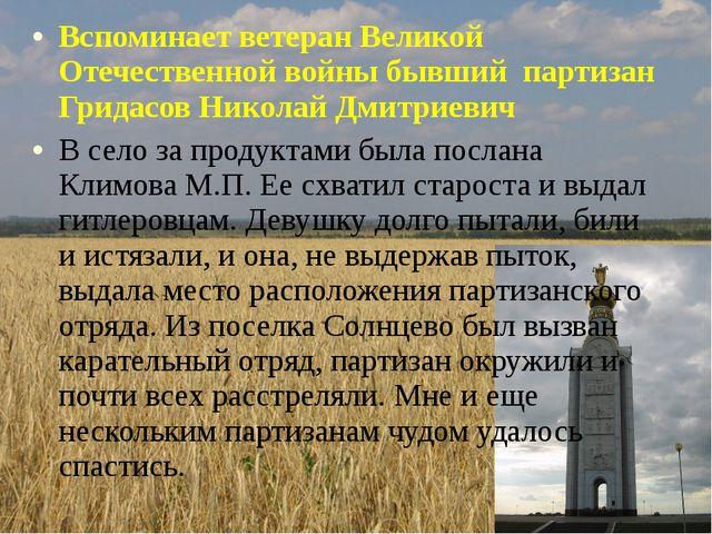 Вспоминает ветеран Великой Отечественной войны бывший партизан Гридасов Никол...