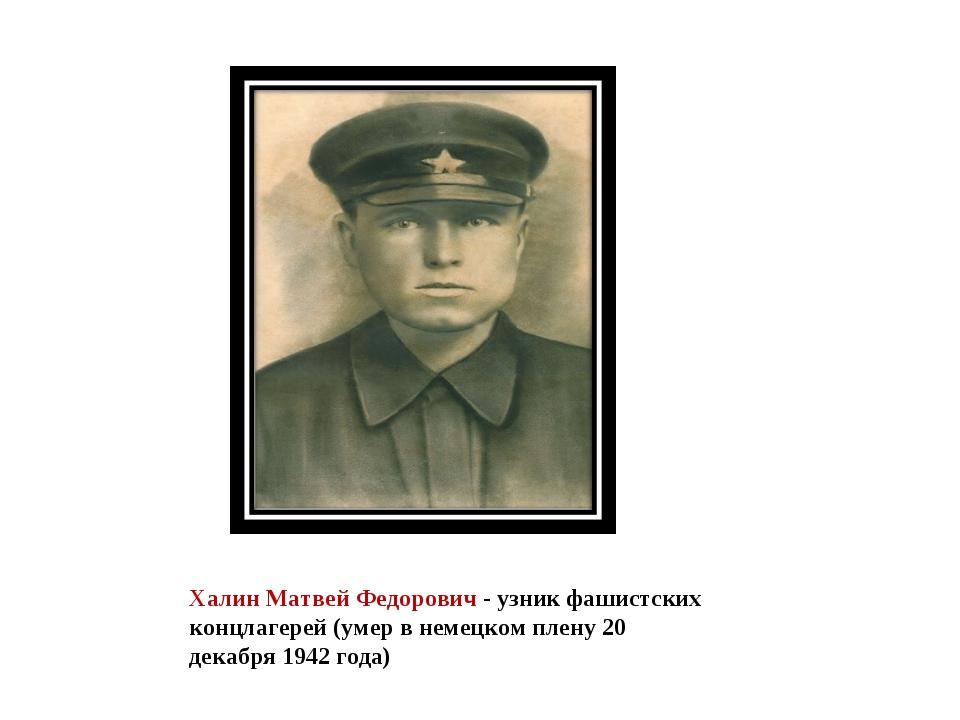 Халин Матвей Федорович - узник фашистских концлагерей (умер в немецком плену...