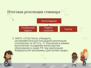 1.  1.  2. МКОУ «СОШ №14» утвердить экспериментальной площадкой реализации