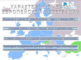 Введение в странах ЕС единой валюты – евро с 1 января 1999 г. Создание единог