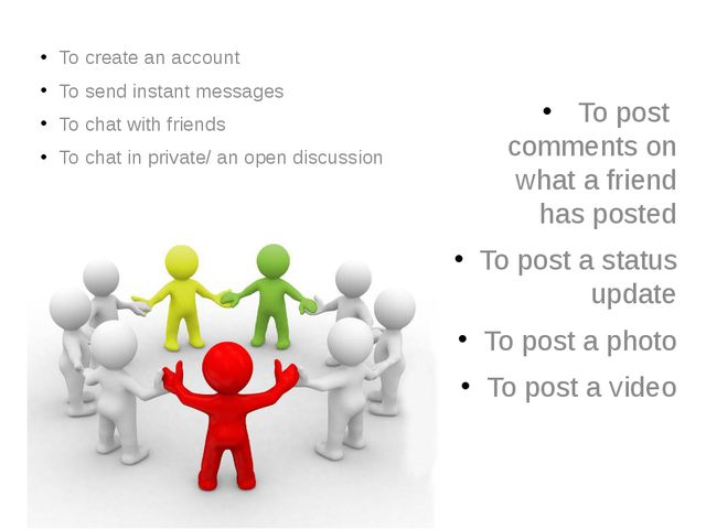 To create an account To send instant messages To chat with friends To chat in...