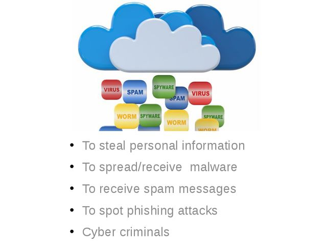 To steal personal information To spread/receive malware To receive spam messa...