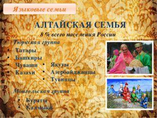 Языковые семьи АЛТАЙСКАЯ СЕМЬЯ 8 % всего населения России Тюркская группа Тат