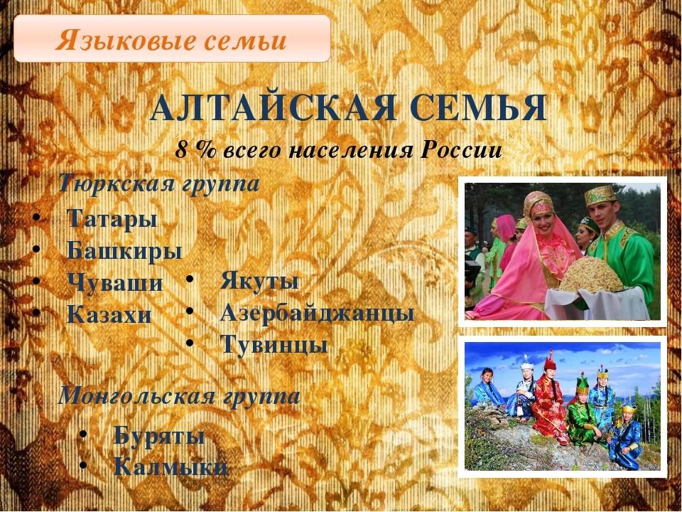 Языковые семьи АЛТАЙСКАЯ СЕМЬЯ 8 % всего населения России Тюркская группа Тат...