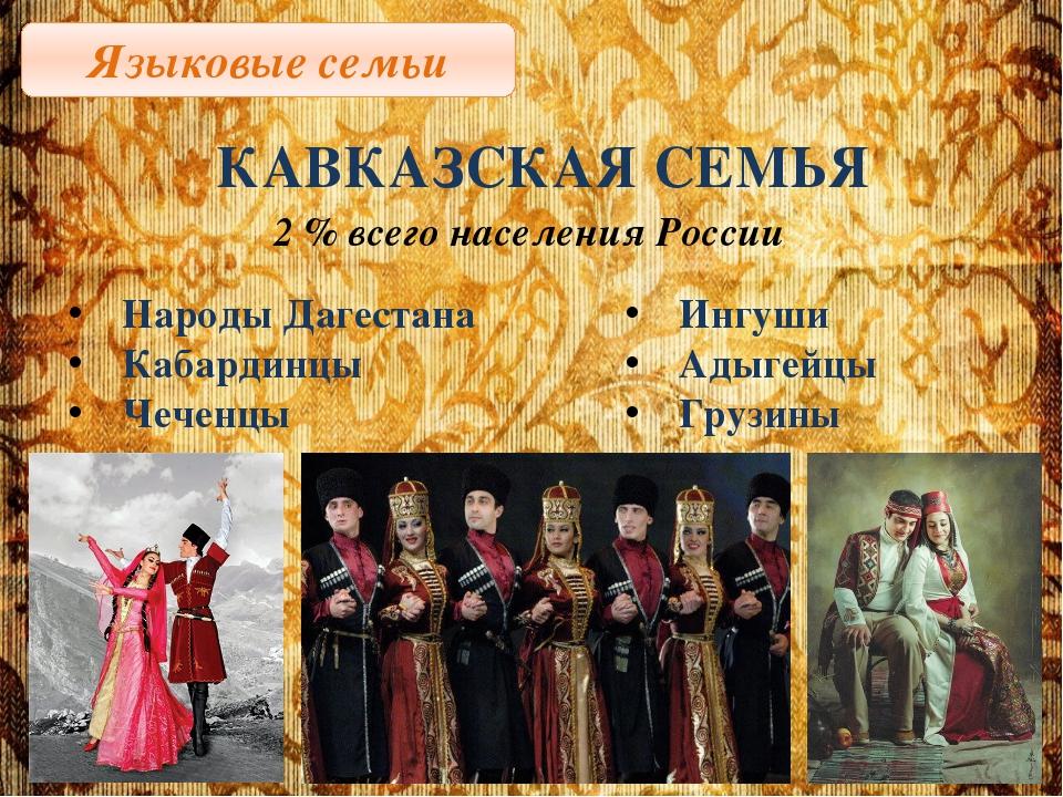 Языковые семьи КАВКАЗСКАЯ СЕМЬЯ 2 % всего населения России Народы Дагестана К...
