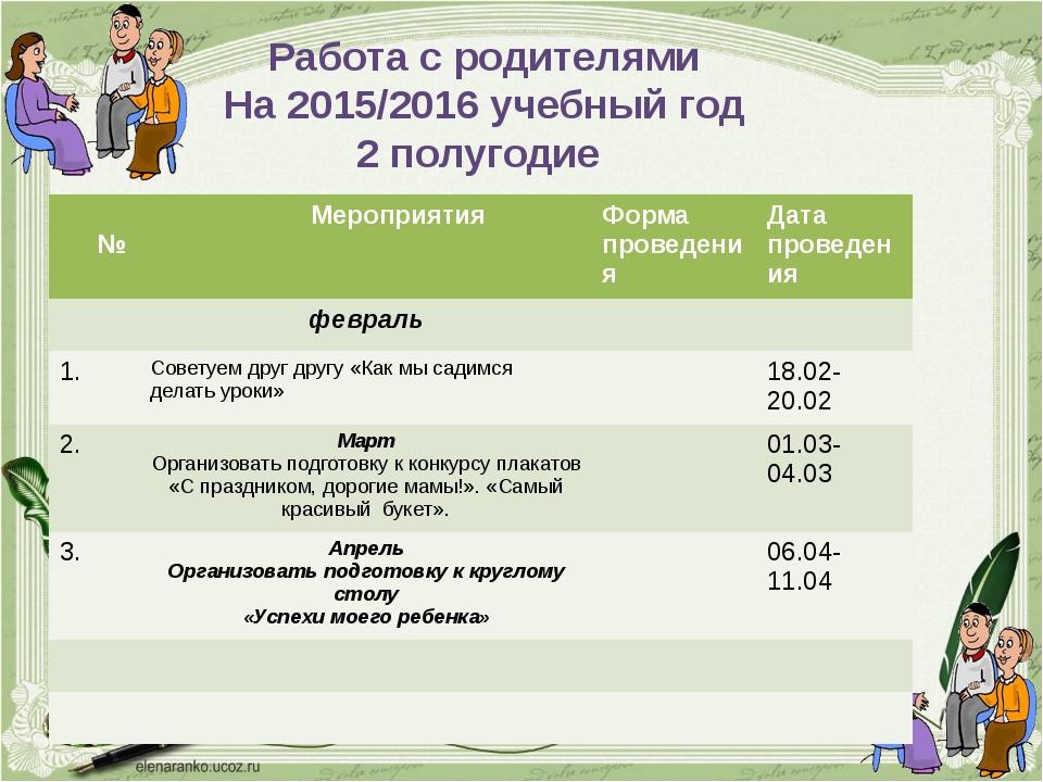 Работа с родителями На 2015/2016 учебный год 2 полугодие № Мероприятия Форма...