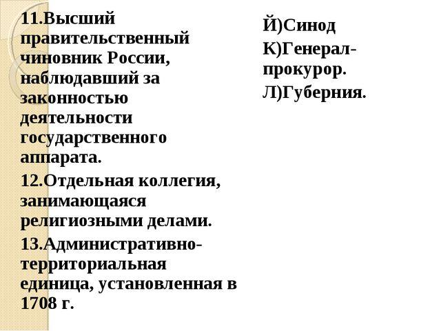 11.Высший правительственный чиновник России, наблюдавший за законностью деяте...