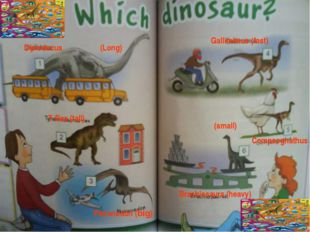 Diplodocus (Long) T-Rex (tall) Pteranodon (big) Gallimimus (fast) Compsognath
