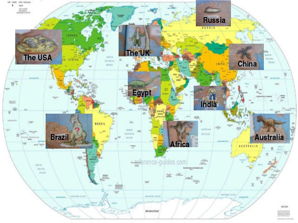 The USA Brazil The UK Egypt Russia China India Africa Australia