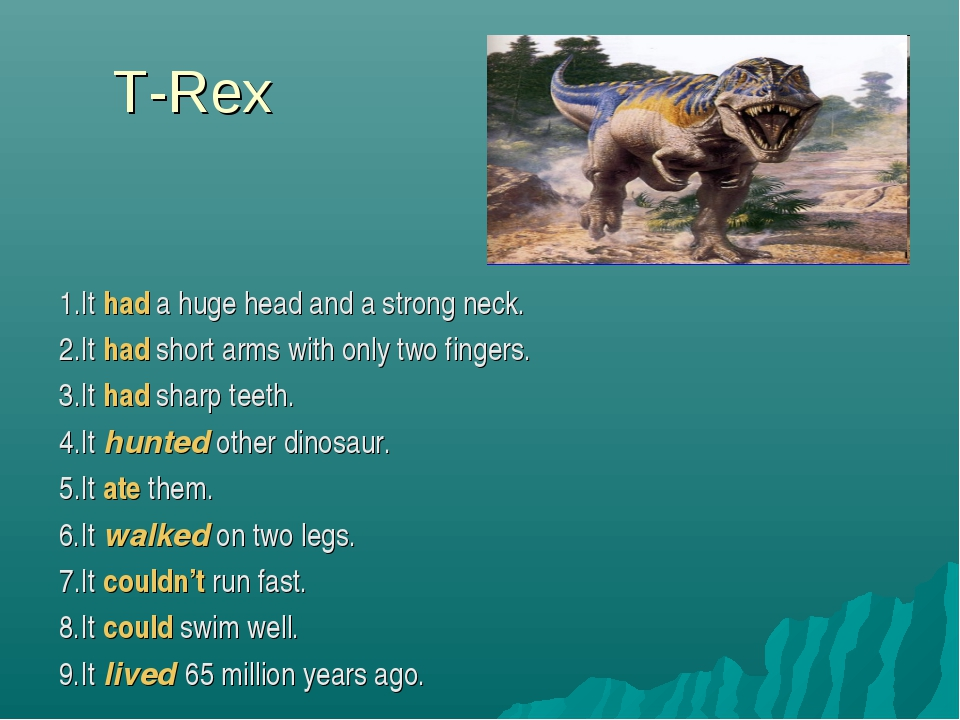 T-Rex 1.It had a huge head and a strong neck. 2.It had short arms with only t...