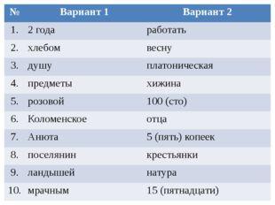 № Вариант 1 Вариант 2 1. 2 года работать 2. хлебом весну 3. душу платоническа