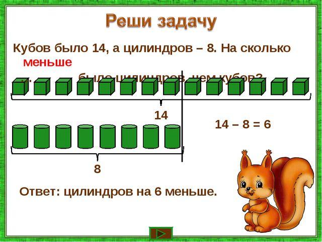 Кубов было 14, а цилиндров – 8. На сколько … было цилиндров, чем кубов? 14 8...