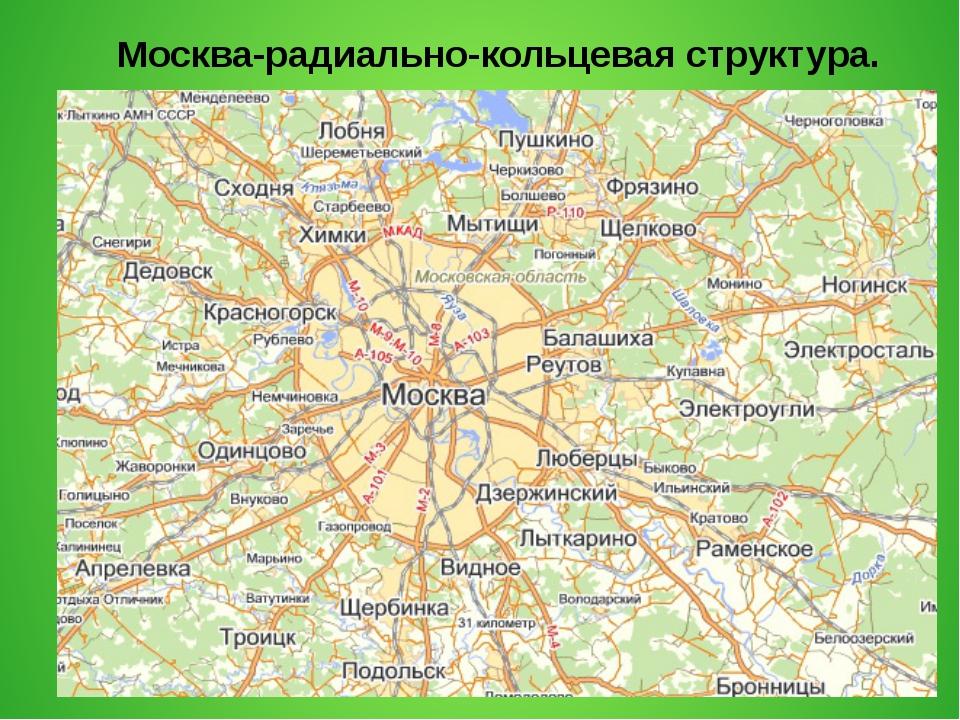 Москва-радиально-кольцевая структура.