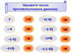 Назовите число противоположное данному: 7 – 7 – 4 4 –(–5) 5 –(+3) -3 -6 +2 -9