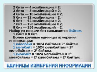 2 бита — 4 комбинации = 22,  3 бита — 8 комбинаций = 23,  4 бита — 16