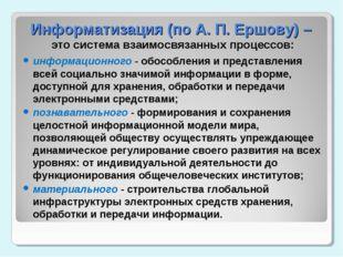 Информатизация (по А. П. Ершову) – это система взаимосвязанных процессов: инф