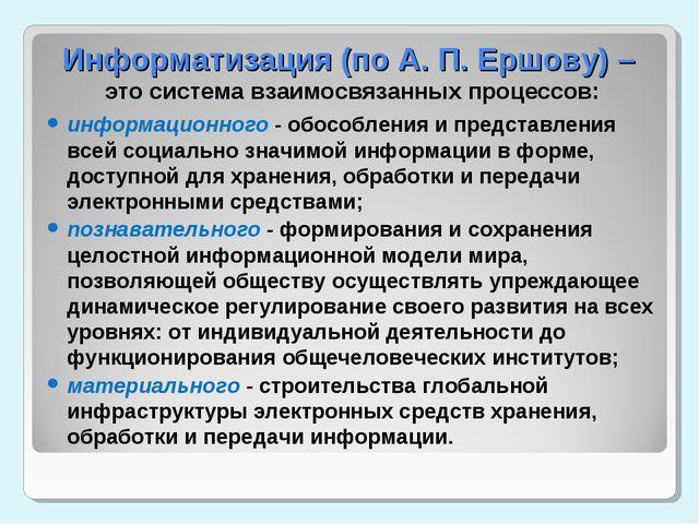 Информатизация (по А. П. Ершову) – это система взаимосвязанных процессов: инф...