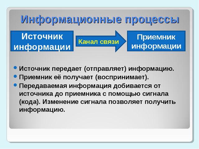 Источник передает (отправляет) информацию. Приемник её получает (воспринимает...