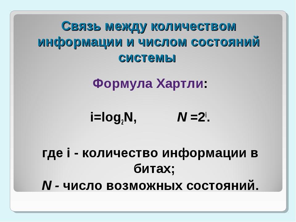 Связь между количеством информации и числом состояний системы Формула Хартли:...