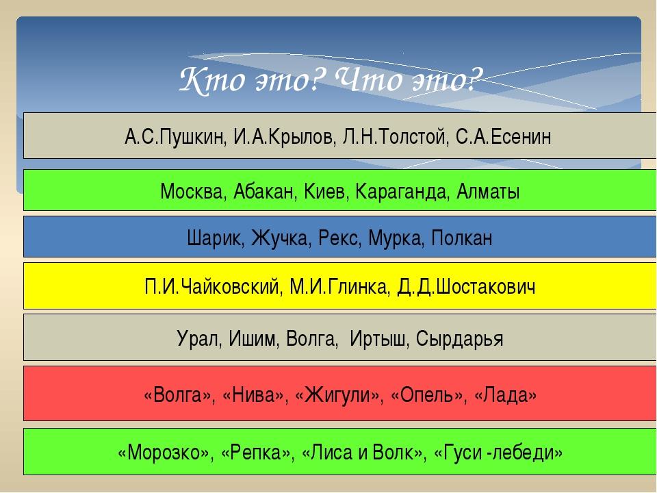 Кто это? Что это? А.С.Пушкин, И.А.Крылов, Л.Н.Толстой, С.А.Есенин Москва, Аб...