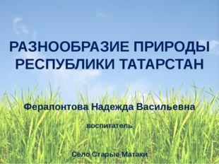 Ферапонтова Надежда Васильевна воспитатель Село Старые Матаки РАЗНООБРАЗИЕ П