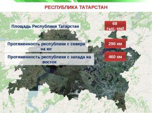 РЕСПУБЛИКА ТАТАРСТАН Площадь Республики Татарстан 68 тыс. км2 Протяженность р