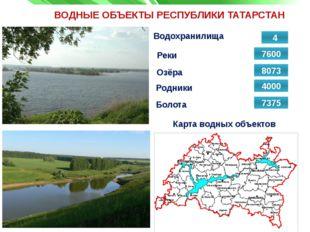 ВОДНЫЕ ОБЪЕКТЫ РЕСПУБЛИКИ ТАТАРСТАН Реки Водохранилища 7600 Карта водных объе