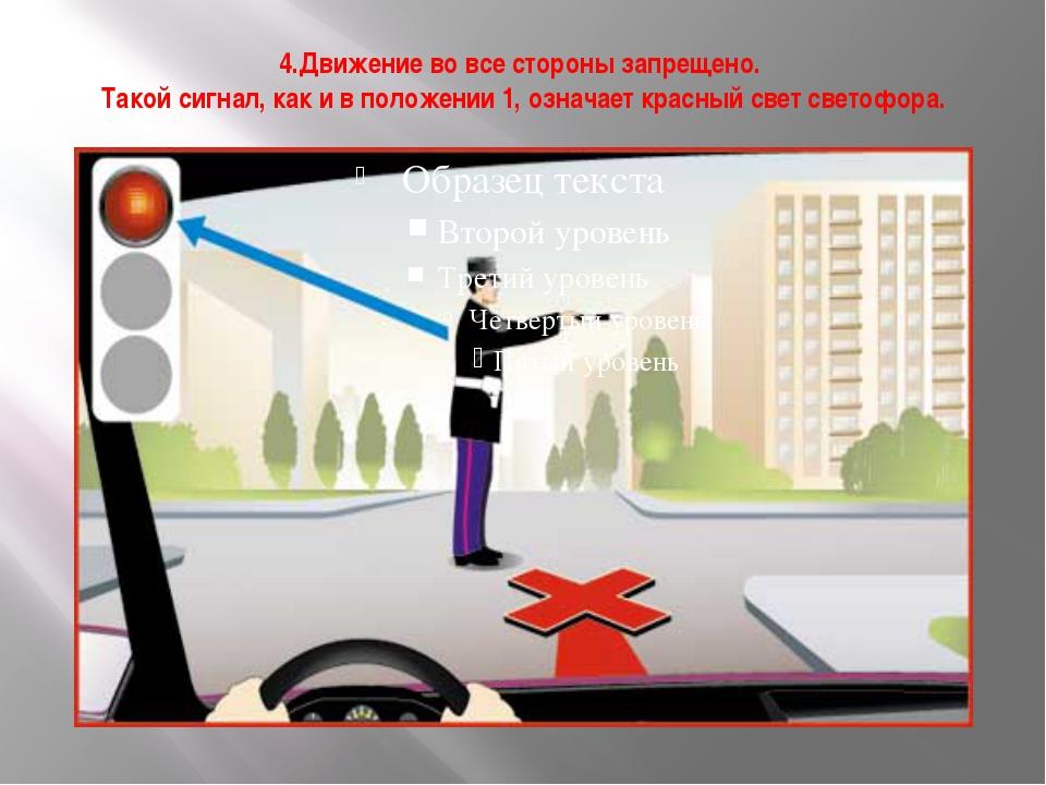4.Движение во все стороны запрещено. Такой сигнал, как и в положении 1, означ...