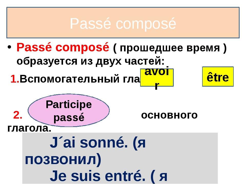 Passé composé Passé composé ( прошедшее время ) образуется из двух частей: 1....