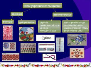 Швы украинских вышивок основные дополнительные счётные декоративные двусторон