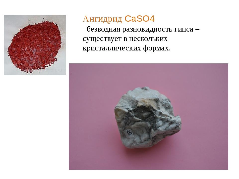 Ангидрид CaSO4 безводная разновидность гипса – существует в нескольких криста...