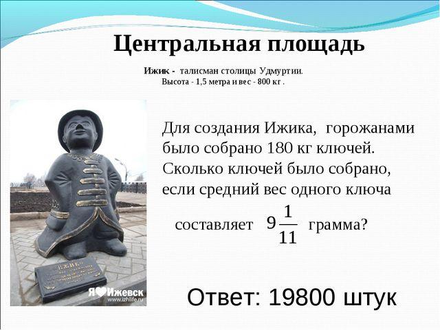 Центральная площадь Ижик - талисман столицы Удмуртии. Высота - 1,5 метра и ве...