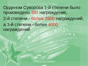 Орденом Суворова 1-й степени было произведено 391 награждение, 2-й степени -