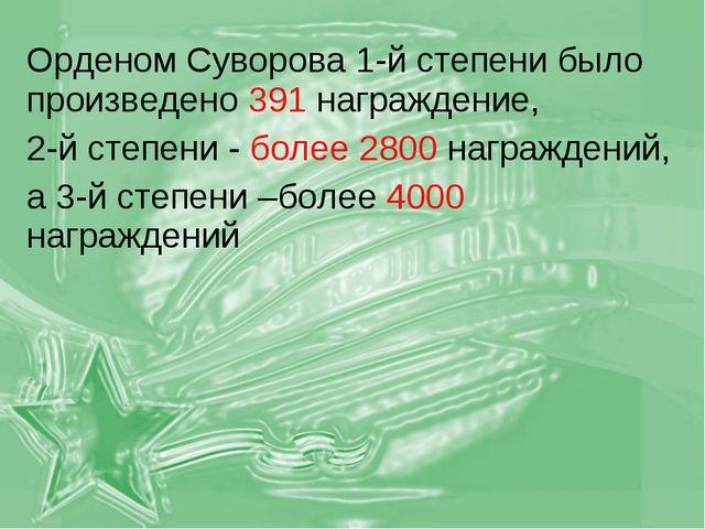 Орденом Суворова 1-й степени было произведено 391 награждение, 2-й степени -...