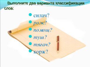 Выполните два варианта классификации слов: силач? рож? помощ? туш? тягач? ко