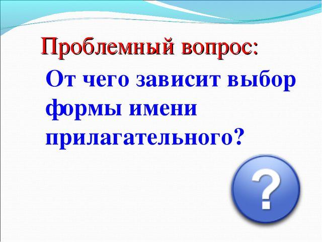 Проблемный вопрос: От чего зависит выбор формы имени прилагательного?