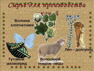 Сырьё для производства тканей Тутовый шелкопряд Волосяной покров овцы Лён – д