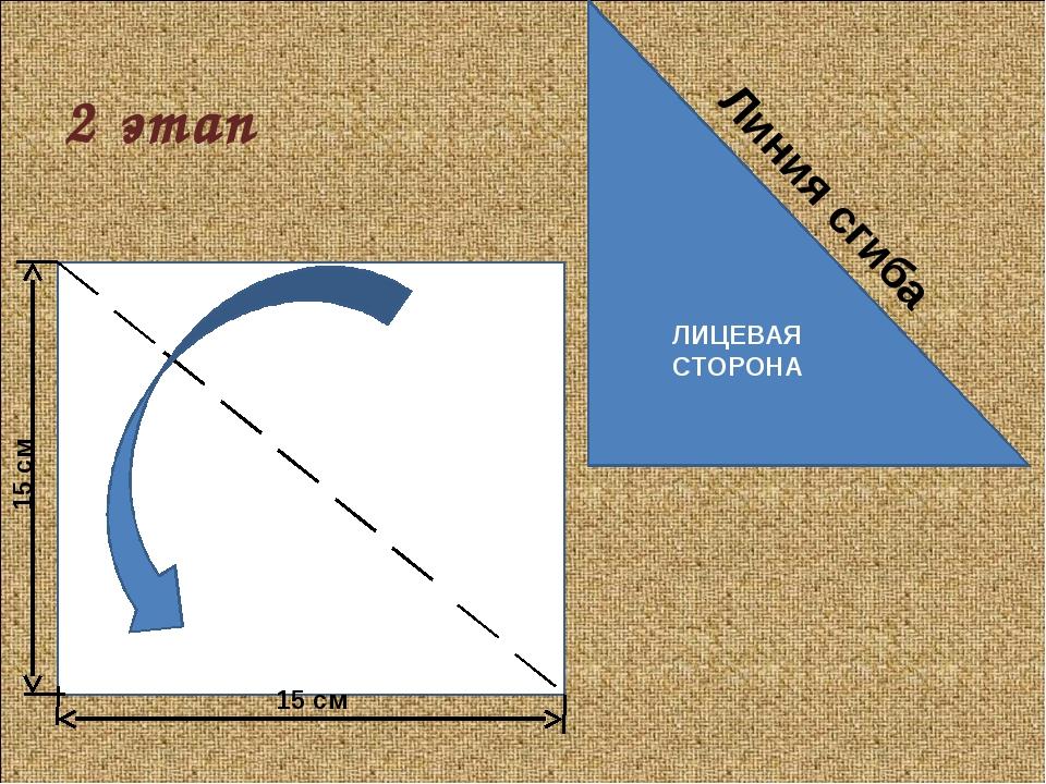2 этап ЛИЦЕВАЯ СТОРОНА 15 см 15 см Линия сгиба