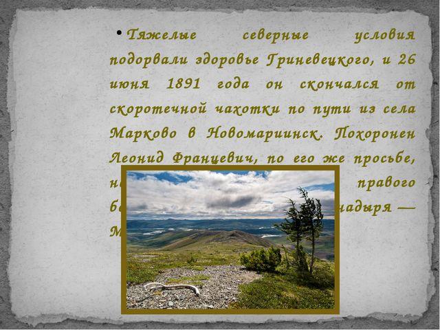 Тяжелые северные условия подорвали здоровье Гриневецкого, и 26 июня 1891 года...