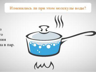 Вода из жидкого состояния перешла в пар. Изменились ли при этом молекулы воды?