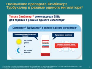 Назначение препарата Симбикорт Турбухалер в режиме единого ингалятора* М 1.Гл