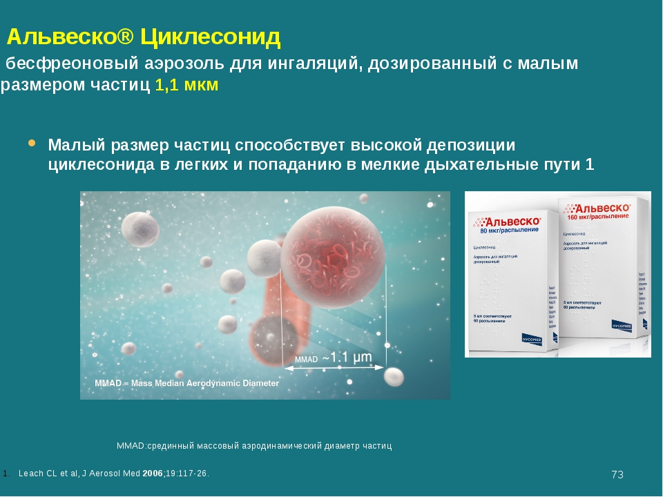 Leach CL et al, J Aerosol Med 2006;19:117-26. MMAD:срединный массовый аэроди...